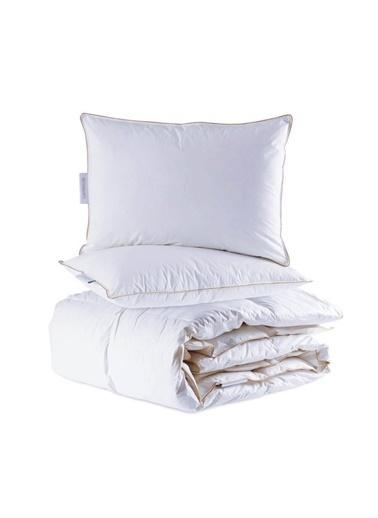 Penelope Lisa Kaz Tüyü Yorgan Set- Çift Kişilik 195x215 Beyaz